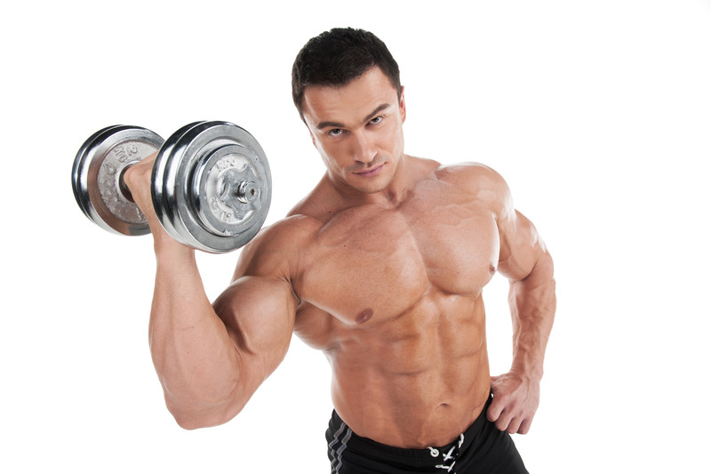 bodybuilder with a dumbbell