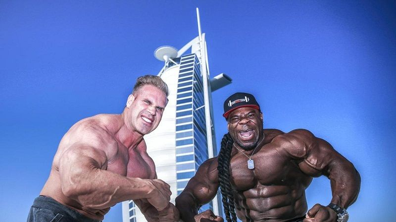 Jay Cutler, a four time Mr Olympia, and Kai Greene, winner in Dubai