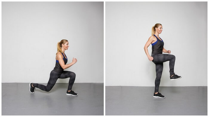 Reverse-lunge with knee lift