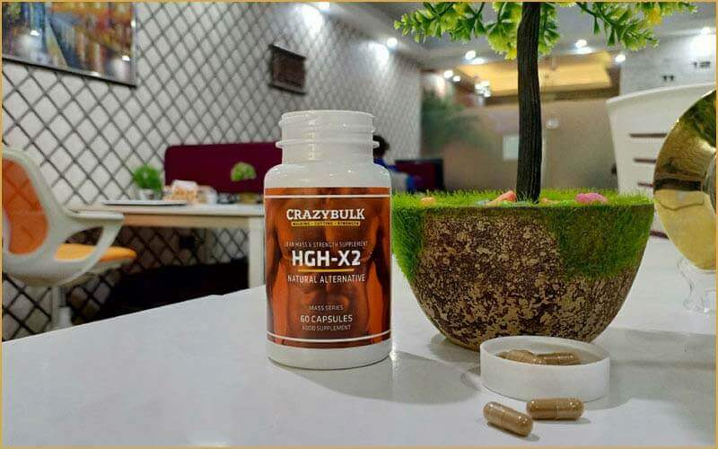 hgh-x2 bottle on the table