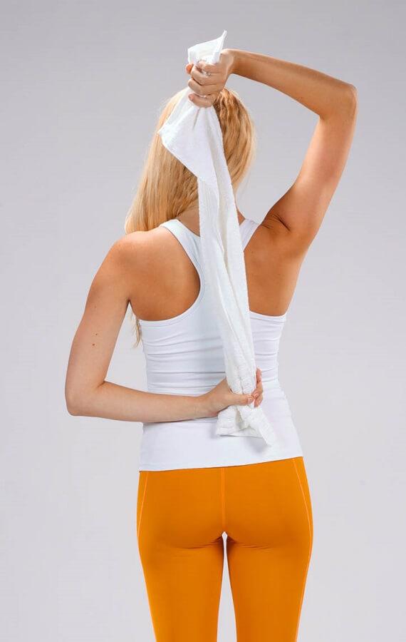 towel triceps stretch