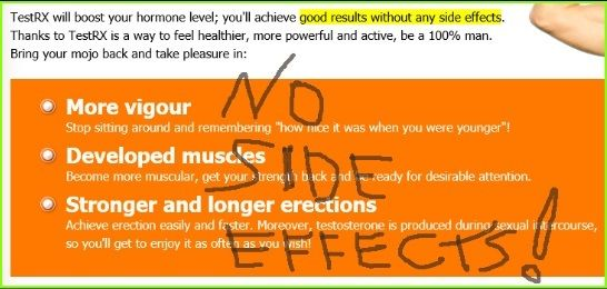 no side effects of test rx