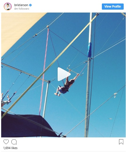 brie larson flying trapeze
